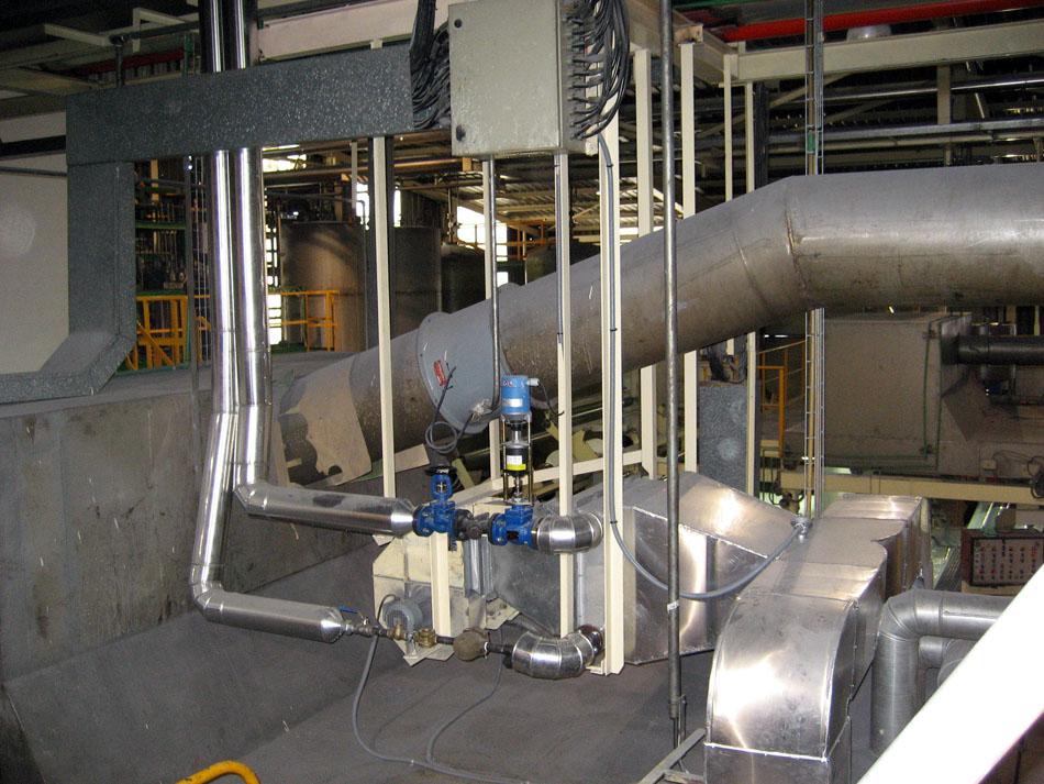 Baterias  y distribución de vapor para calentamiento en proceso industrial