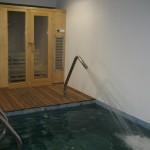 Piscina climatizada y sauna en vivienda